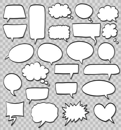 vector set of comic speech bubbles on transparent background Illustration