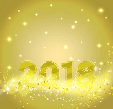 행복 한 새 해 2018 반짝이 별, 반짝이 밝은 입자와 추상적 인 황금 배경. 벡터 일러스트 레이 션