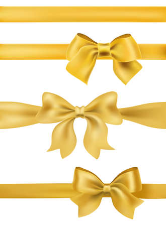 Set of golden bows and ribbons