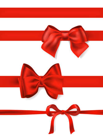Set of red bows and ribbons
