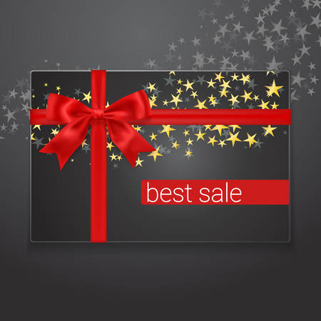 Best sale card with red silk bow and golden stars