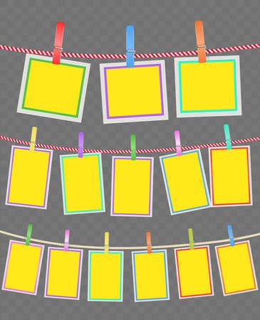 clothespins와 로프에 여러 가지 빛깔의 프레임