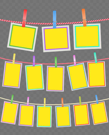 Multicolored frames on rope with clothespins