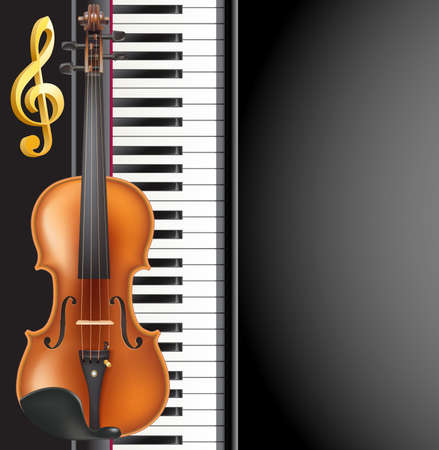 Piano and violin realistic musical instruments Illustration