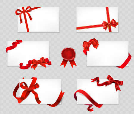 Set of white cards with red bows and ribbons
