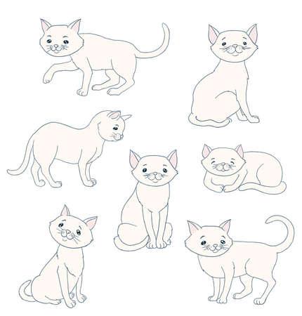White cartoon Feline Иллюстрация
