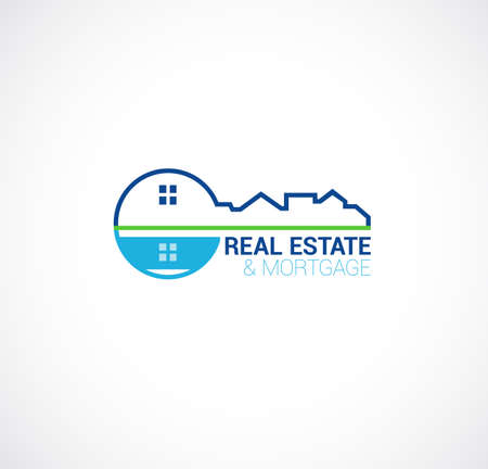 real estate and mortgage logo with key symbol, home roof, water pool and sample text. vector illustration