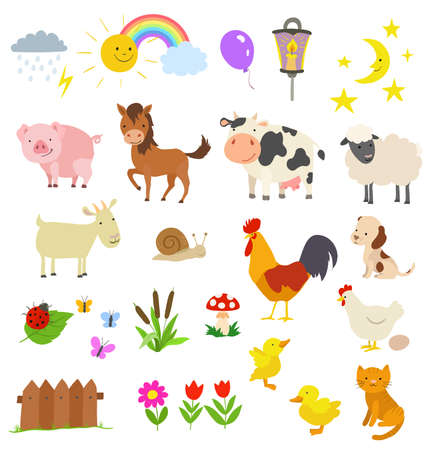 cartoon set of farm animals isolated on white. vector illustration
