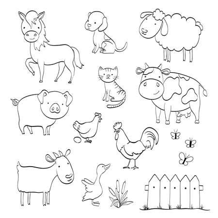 화이트 절연 농장 동물의 만화 세트와 페이지를 색칠. 벡터 일러스트 레이 션
