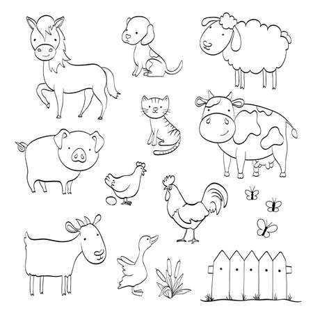 coloring page with cartoon set of farm animals isolated on white. vector illustration