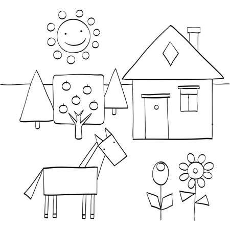 어린이들이 자연에서 기하학적 도형을 찾을 수있는 색칠 공부 페이지. 집, 나무, 태양, 말 및 꽃. 벡터 일러스트 레이 션