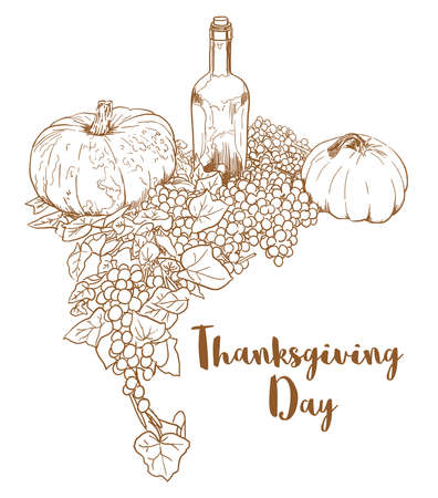 hand drawn pumpkins, grapes, wine bottle on white background with space for text.