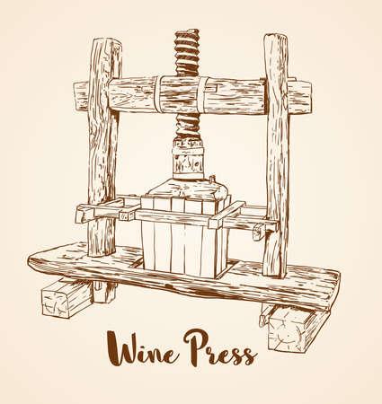 오래 된 목조 와인 프레스 손으로 그린 벡터 일러스트 레이 션.