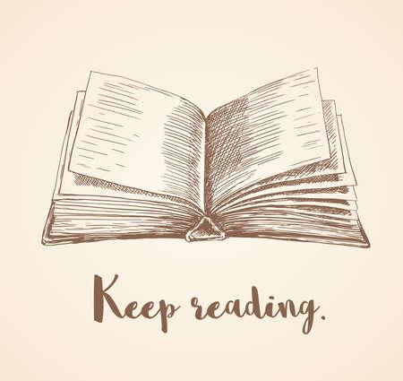 손으로 그려진 된 벡터 일러스트 레이 션 오픈 책과 계속 견적을 읽고. 일러스트