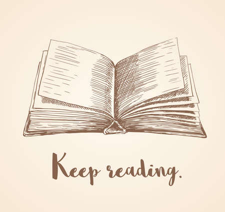 hand drawn vector illustration of open book and keep reading quote.
