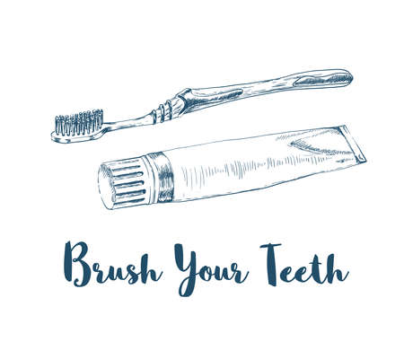 hand drawn tooth paste tube and brush on white. vector illustration