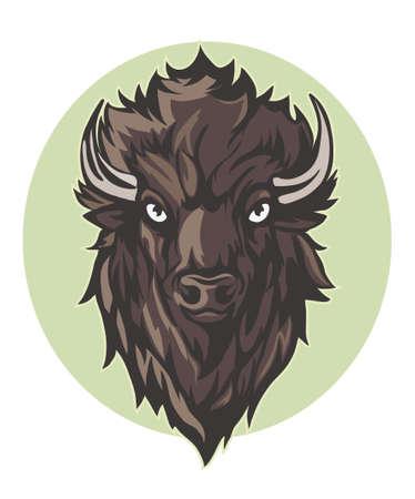 wild buffalo, bison, bull head mascot. hand drawn vector illustration Иллюстрация