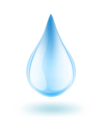 glossy blue water drop on white. vector Illustration