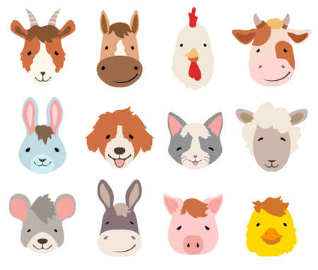 farm cartoon animals faces collection on white. vector illustration