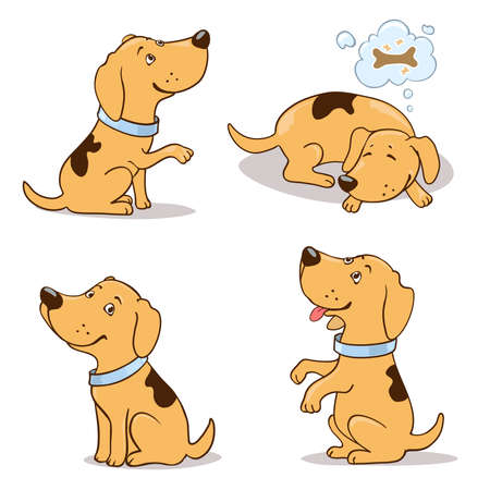 Set of cute cartoon dogs on white.  Begging, dreaming, smiling, sitting positions Illustration