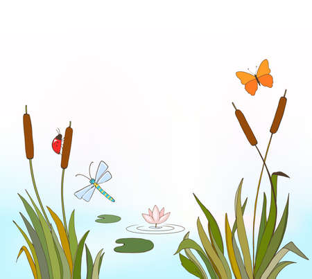 cartoon vector illustration of reeds and flying insects, waterlily on lake as summer or spring background