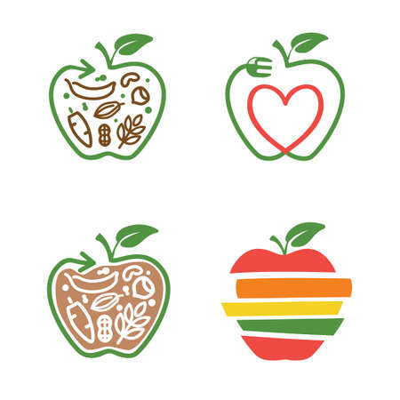 apple symbol with arrow line and leaf, fork, heart, vegetarian food set of icons