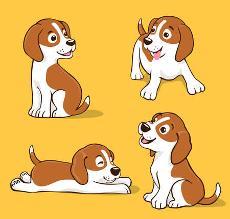 cute cartoon dog in different positions, sitting, sleeping, dreaming, smiling Ilustração