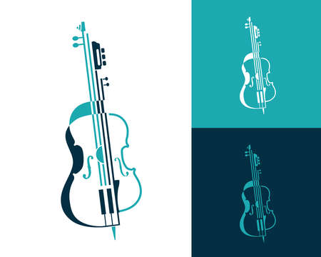 Musical abstract composition of violin, guitar and cello made in lines and shapes. Music symbol for concerts, presentations, quartets and trio performances. vector