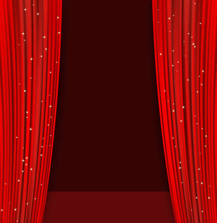 red theater curtains with glitter and dark stage. abstract background with opera red drapes and glittering stars. vector illustration Ilustracja