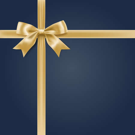 holiday ribbon with knot soft golden color bow on dark blue. vector Illustration