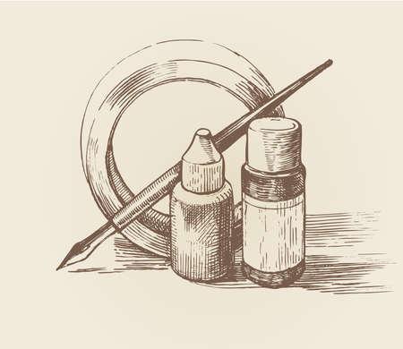 ink pen and bottles, drawing set monochrome sketch. vector