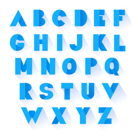Bold blue font. Vector alphabet with fold effect letters. Illustration