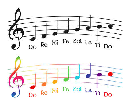 Funny rainbow gamma with musical notes. vector