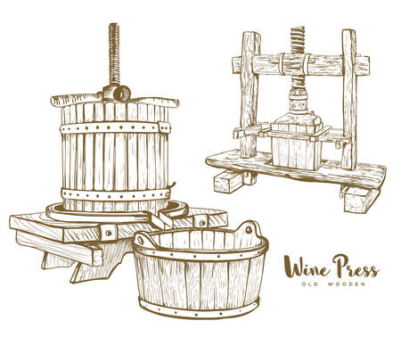old wine press set vector illustration