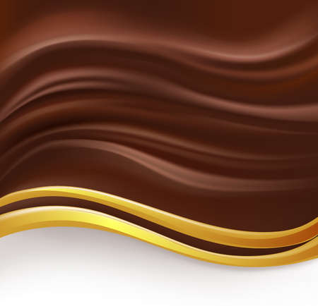abstract hot wavy chocolate background with golden border Иллюстрация