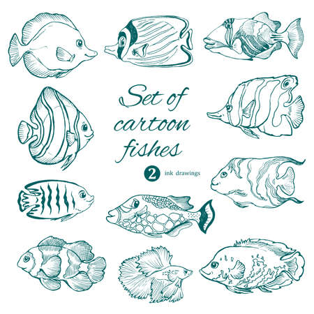 set of saltwater aquarium fishes on white. vector ink drawing