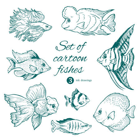 set of aquarium fishes on white. cartoon characters ink drawings