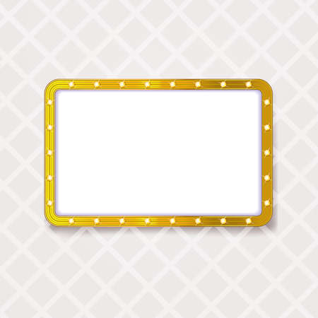 golden rounded frame with light lamps and space for text Ilustracja