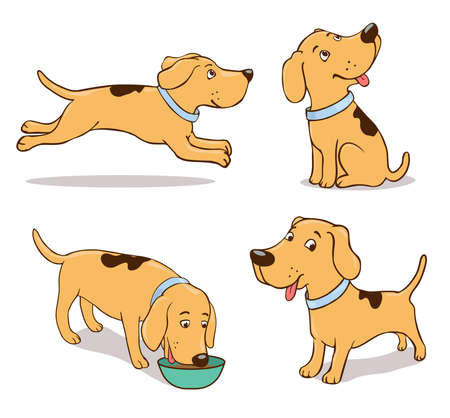 Sitting, running, smiling, standing, eating hand-drawn dog in different poses. Illustration