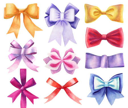 watercolor various colors silk ribbon bows set isolated on white. hand-drawn knots as decorative design elements. golden, purple, red, pink, violet and blue bow