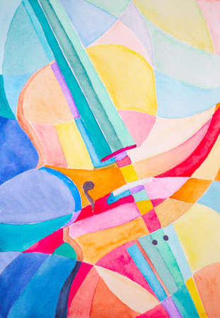 abstract geometric violin illustration hand made with watercolor Stock Photo