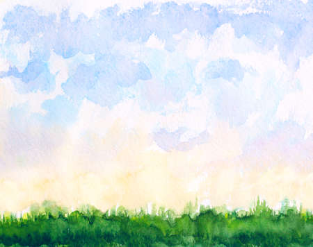 abstract watercolor natural landscape with clouds and grass