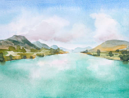 watercolor painting with mountains and hills, water and islands and blue sky with clouds Zdjęcie Seryjne