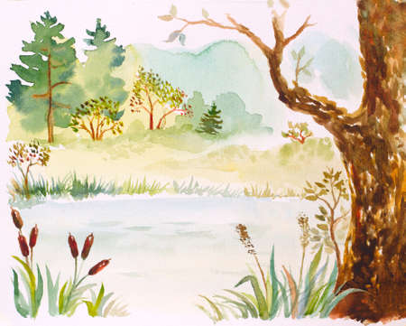 watercolor illustration with a lake, reeds, trees and bushes