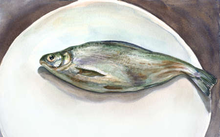 watercolor fish on white plate