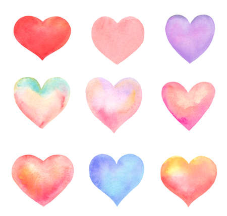 set of heart shapes made in watercolor isolated on white