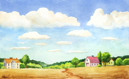watercolor illustration of rural scene with big clouds, trees and houses and a road Stock Photo