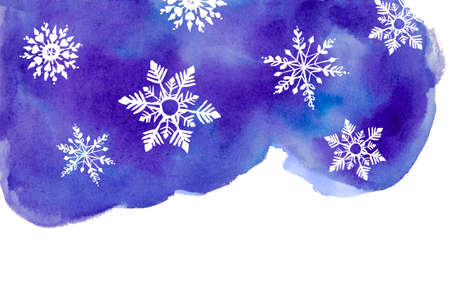 Winter watercolor abstract background with snowflakes.