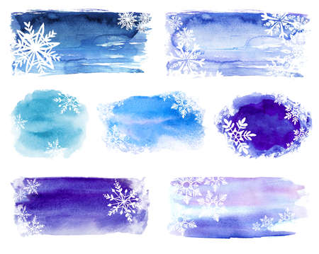 abstract winter watercolor splash background with snowflakes