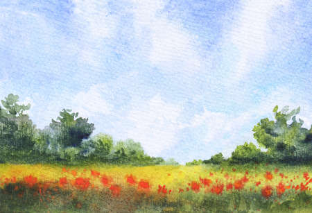 watercolor landscape with grass field, blue sky with clouds and red wild flowers. hand-drawn illustration